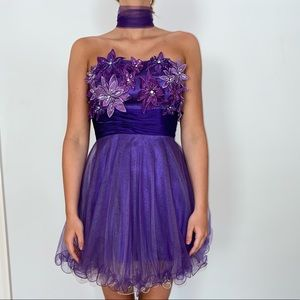 Purple mini dress with removable tool tie